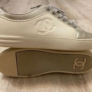 CHANEL Ivory Silver Leather Rubber CC Sneakers 8